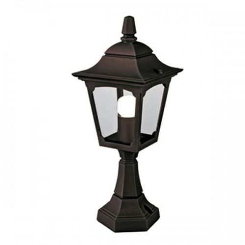 Cheltenham Cast Pedestal Lantern Light Black: Churchill Mini Pedestal Lantern Black