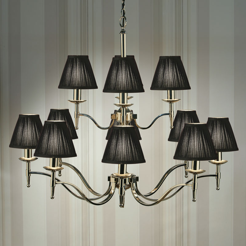 Stanford nickel 12 light chandelier with black shades light innovation 12 light chandelier with black shades sale aloadofball Gallery