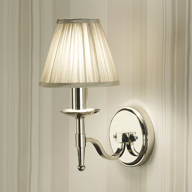 Stanford Nickel Single Wall Light With Beige Shade Light
