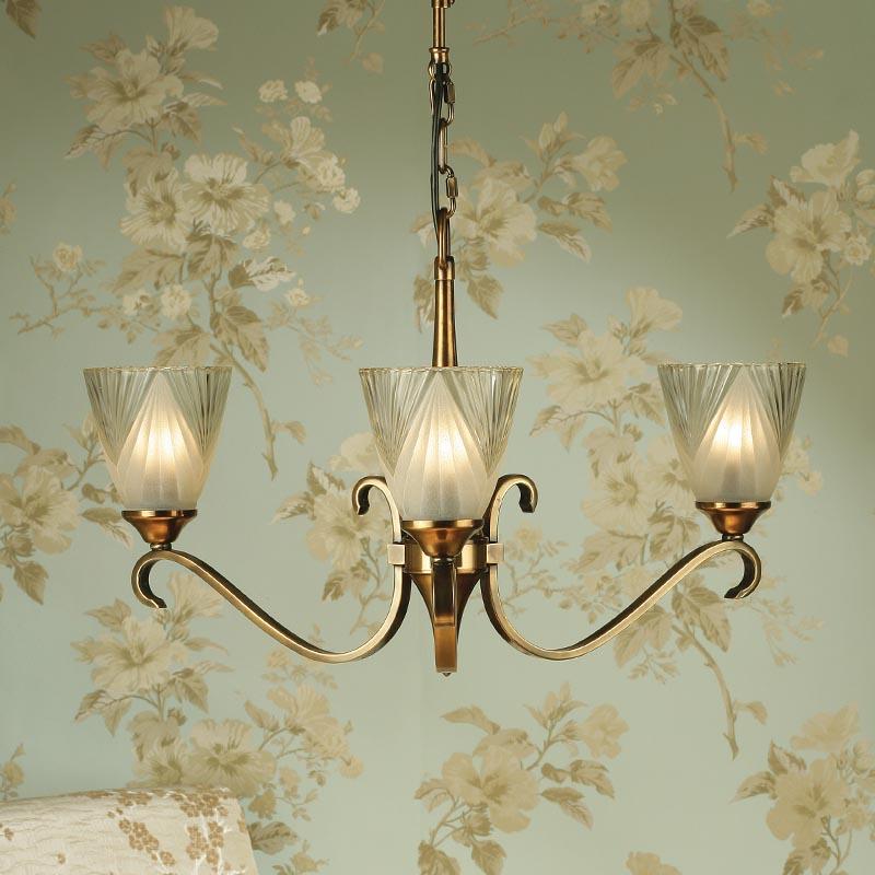 Columbia Brass 3 Light Chandelier With Deco Art Glass