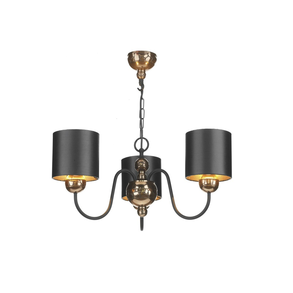 Garbo 3lt Bronze Pendant With Black And Bronze Shades